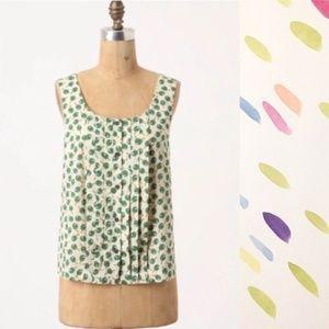 Anthro Postmark pingpong paddle blouse green 0107